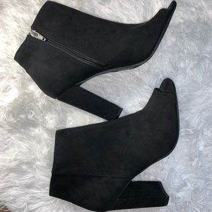 Merona open toe heel boots